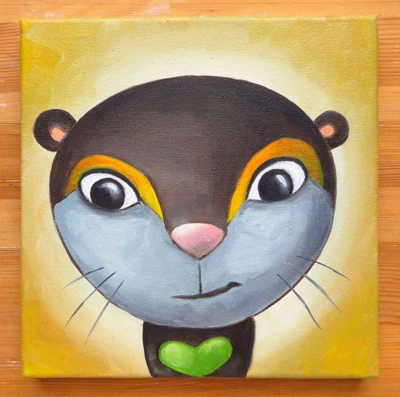 Otter Portrait Original Art Brown Wild Animals Oil by MikiMayoShop