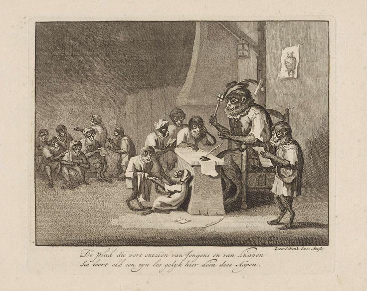 Schoolklas met apen, Leonard Schenk, 1720 - 1767