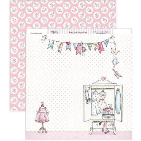 Papel scrap con un mini vestidor y por el revés un fondo con círculos blancos y flores rosas #scrap #conideade #manualidades