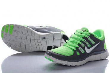 Nike Free Run 5.0 Women Green Gray Shoes - Click Image to Close