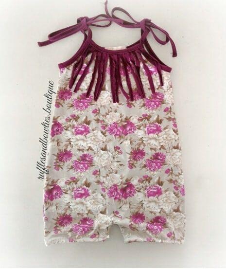 915c55e5b Kryssi Kouture Baby Girls Vintage Floral Print Fringe Romper Jumper ...