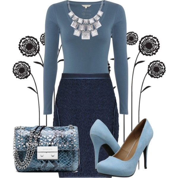 Navy Blue Pencil Skirt Outfit Ideas - Bronze Cardigan