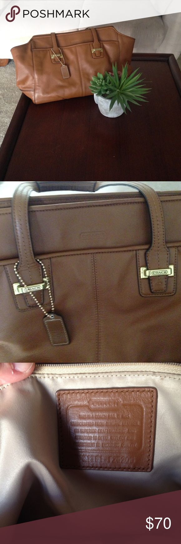 Coach tote bag Genuine leather! Perfect tote for everyday use! Handles have some wear but otherwise perfect condition! Coach Bags Totes