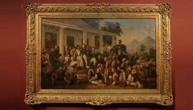 """This painting entitled """"Penangkapan Pangeran Dipanegara"""" (The Capture of Prince Diponegoro) created in 1857, is one of two works by Raden Saleh Sjarif Boestaman - a pioneer of Indonesian moder art - that have been completely restored by German art conservator Susanne Enhards. The Goethe Institute and Arsari Djojohadikusumo Foundation symbolically presented the paintings to the Indonesian Government in October 2013. #art"""