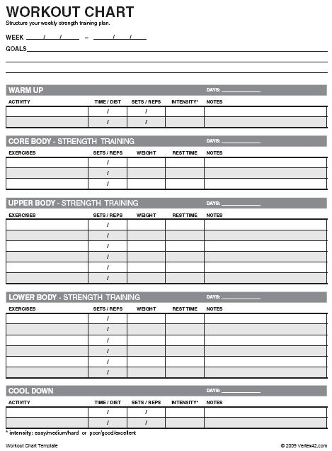Free Workout Chart | Printable Weight Lifting Chart Template
