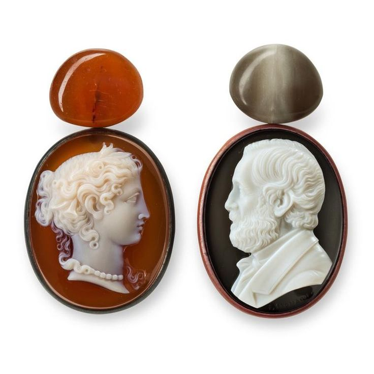 Hemmerle earrings in copper, silver and white gold, set with antique horn cameos. No longer old fashioned.