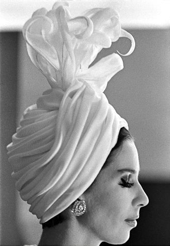 The 1st Yves Saint Laurent Couture show, the Spring-Summer 1962 Collection. Turban by Victoire Doutreleau.