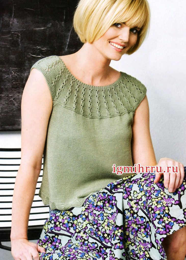 Cero green top with round yoke relief. knitting. Discussion on LiveInternet - Russian Service Online Diaries