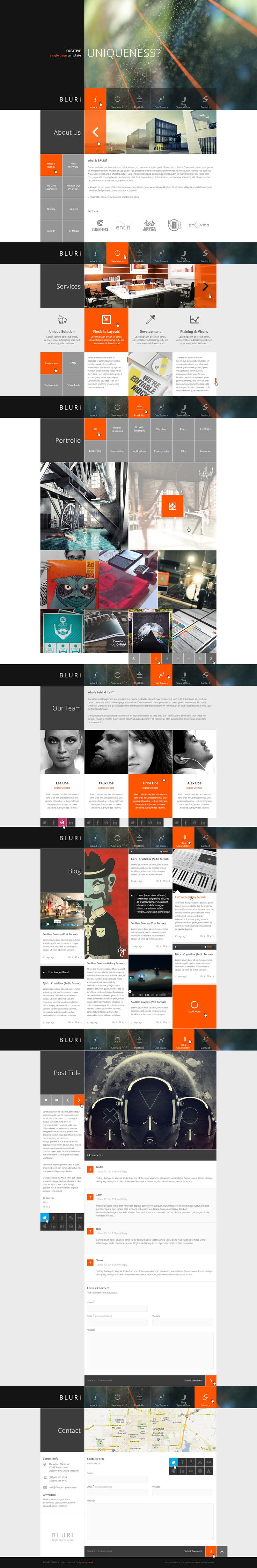 BLURI Single Page web design