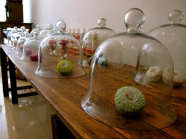 Roger & Gallet soaps under bell jars