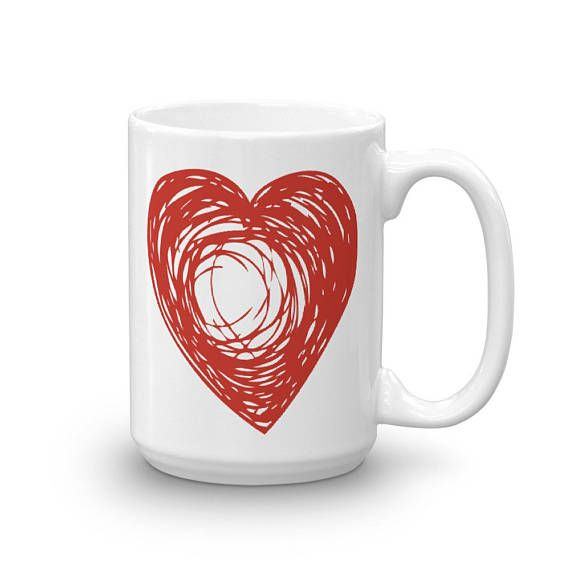 Lovely BIG RED HEART Doodle Love Theme Bright Flashy Design Ceramic Coffee Mug