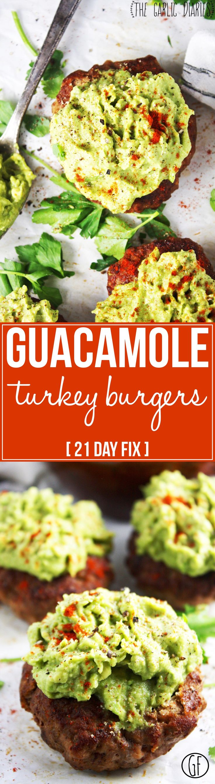 Guacamole Turkey Burgers [21 Day Fix] - Mexican spiced turkey, super simple guacamole, and one deliciously healthy meal! Easy and SO mouthwatering. Gluten free - TheGarlicDiaries.com
