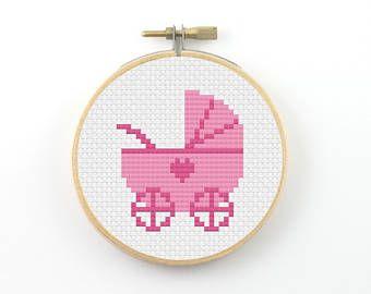 Baby carriage cross stitch pdf pattern