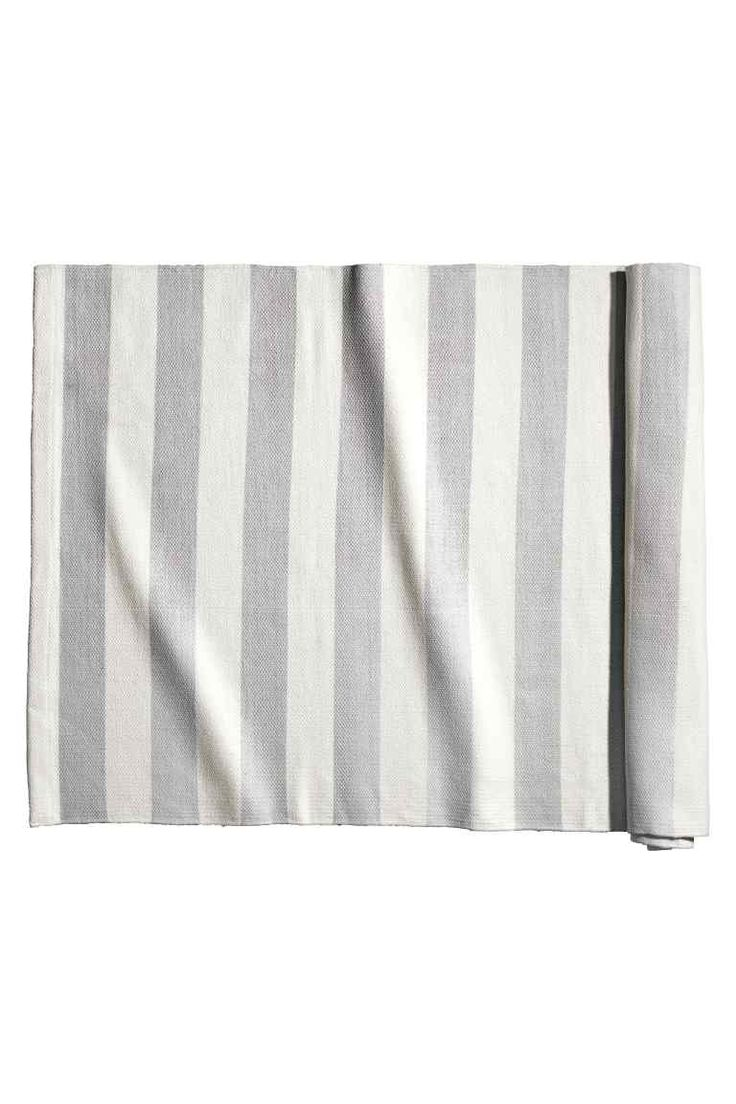 Striped cotton rug - Light grey - Home All | H&M GB