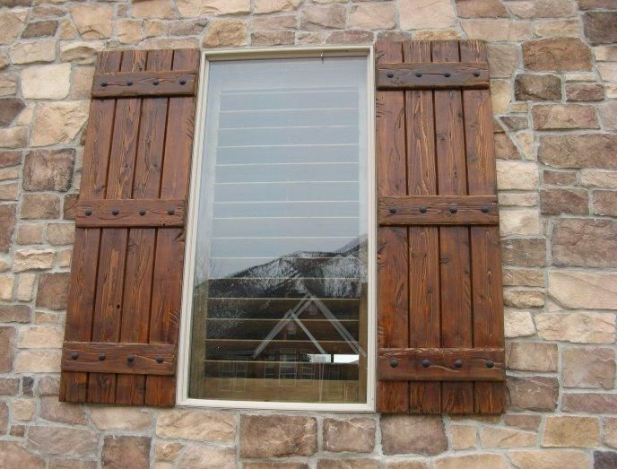 White Brick Stained Shutters