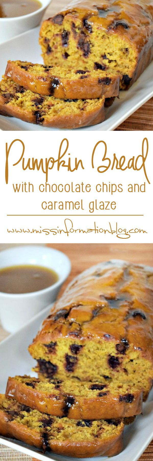 Pin this Pumpkin Bread Recipe with Chocolate Chips for fall it's easy to make and the chocolate chips add a richness you don't get from regular pumpkin bread