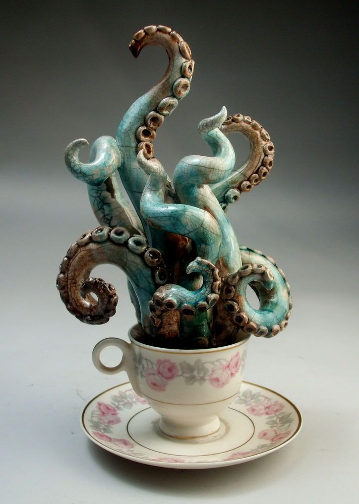 I love tiny, unexpected treasures - Octopus Kracken Teacup pottery sculpture folk art by Face Jug Maker Grafton