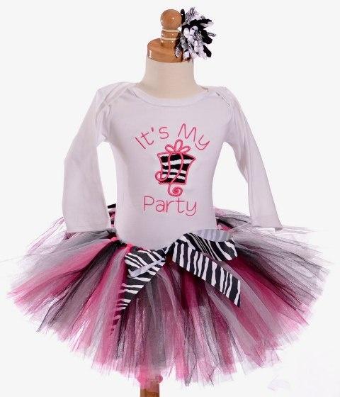 Zebra Print First Birthday Tutu Girls Outfit