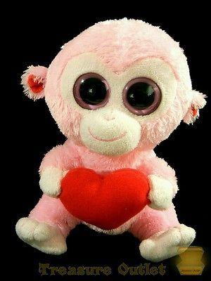 Ty Beanie Boos Stuffed Plush Pink Valentine Monkey Julep 6in