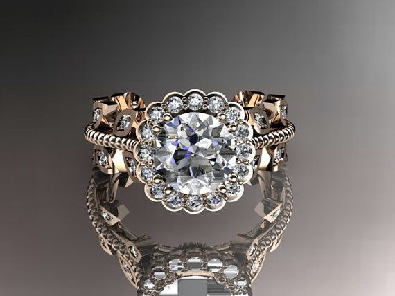 14kt rose gold diamond leaf and vine wedding by anjaysdesigns