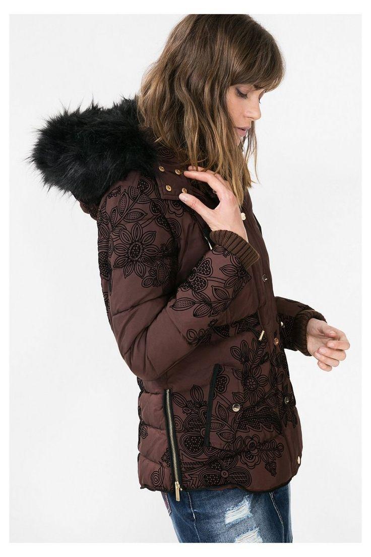 Manteau marron à capuche Ada Desigual pas cher prix Manteau Femme Desigual 179.95 €