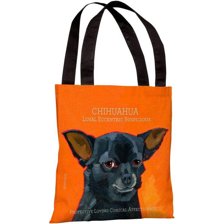 """Chihuahua"" 18""x18"" Tote Bag by Ursula Dodge"