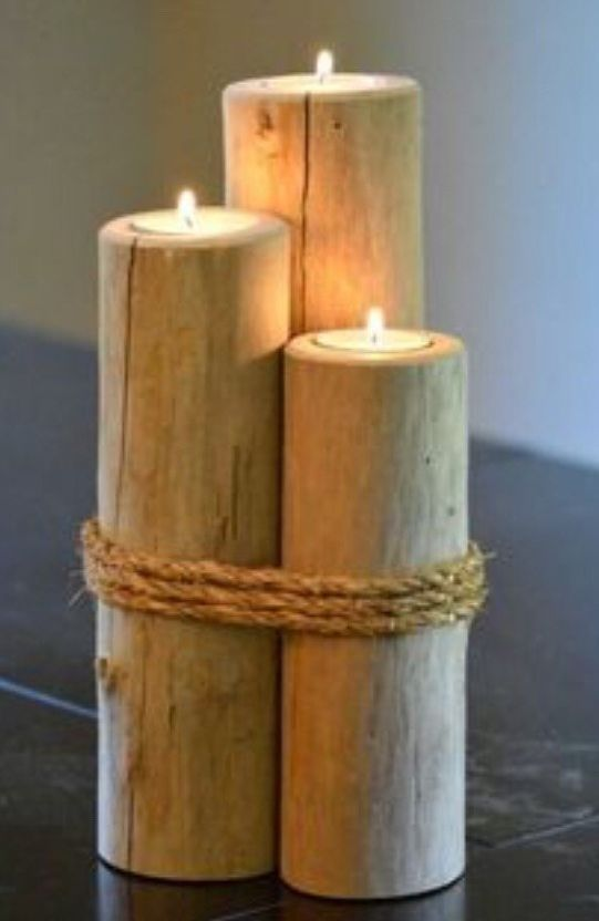 Transform Tree Stumps To DIY Rustic Candle Holders