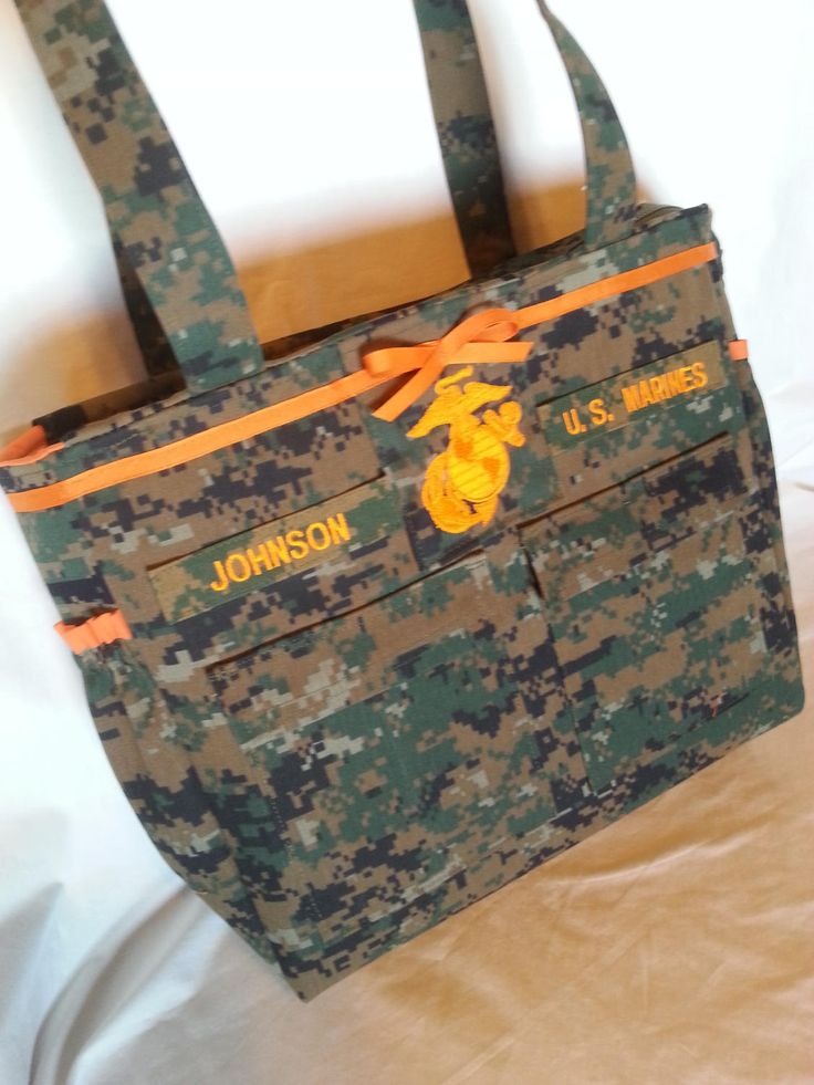 Best desert Marine military diaper bag with EGA embroidery in your choice color(s) Daddy diaper bag desert marine diaper bag custom by bythebayoriginals on Etsy