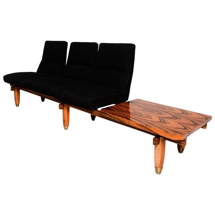 Delightful Three Seat Sofa And Table Bench Mid Century Modern Period Nice Look