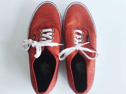 Red Glitter Vans Shoes Men's 7.5 / Women's 9 Excellent Condition