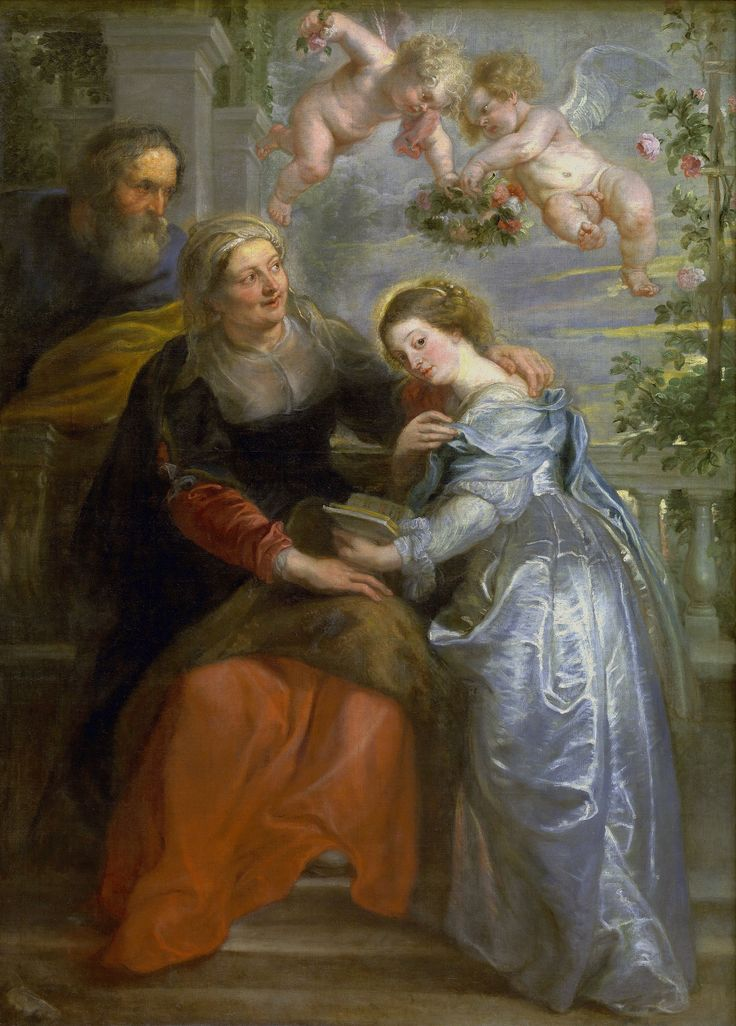 "Education of the Virgin by Peter Paul Rubens, 1625-1626 (PD-art/old), Koninklijk Museum voor Schone Kunsten Antwerpen, similar painting possibly by Peter Paul Rubens was in the collection of the Polish Vasas - inventory of John Casimir's collection lists under no. 439. ""A large vertical painting with St. Joachim and St. Anne who teaches the Virgin to read, with angels, painted on canvas"""
