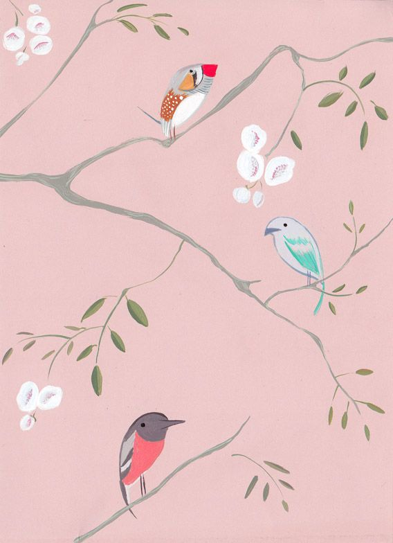 Bird Tree wallpaper...cute for a baby girl's room as an accent wall