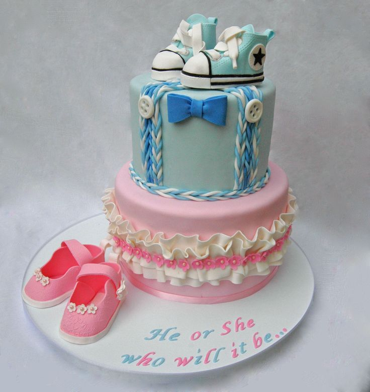 Gender Reveal Baby Shower Cake With Converse Shoes And