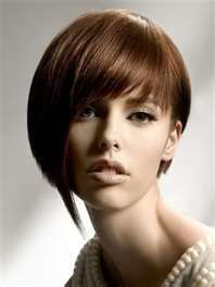 angled bob cut for short hair round face. Shave left side, a line on right side.
