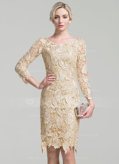 72aea6526526 Sheath Column Scoop Neck Knee-Length Lace Mother of the Bride Dress  (008091944) - JenJenHouse