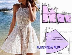Com base nas medidas do desenho do molde de vestido de renda faça este belo e simples modelo. O molde de vestido está com as medidas correspondentes ao...