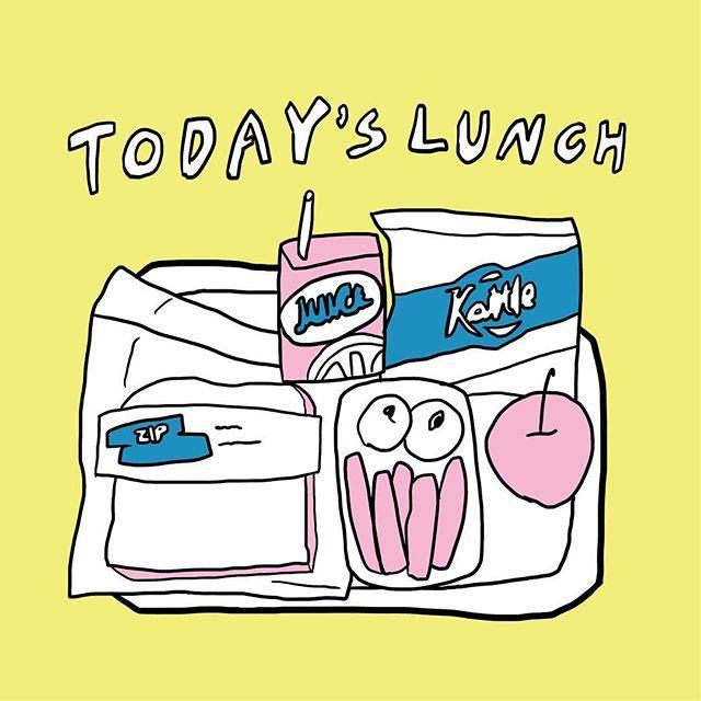 TODAYS LUNCH🍭 #今日のランチ #昼ごはん #今日もドトール #レタスサンド #このイラストは給食 #イラスト #デザイン #アート #illust #design #art
