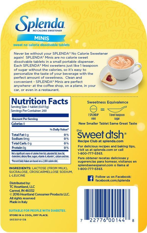 carbs in diet splenda