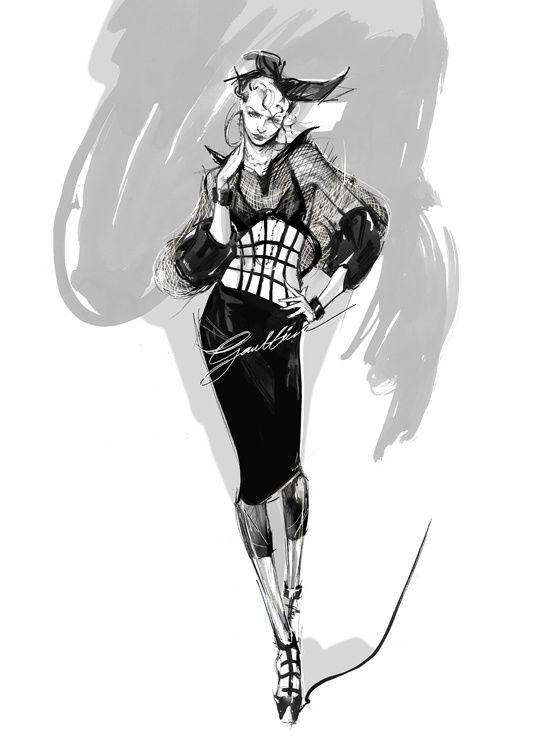 Croquis de Jean Paul Gaultier pour les costumes de scène de Madonna en 2012 http://www.vogue.fr/mode/inspirations/diaporama/traits-de-genies-croquis-de-createurs-mode/12687/image/744325#!croquis-de-jean-paul-gaultier-pour-les-costumes-de-scene-de-madonna-en-2012