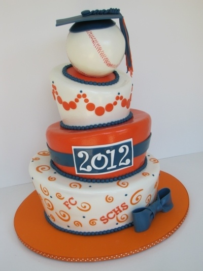 Blue and Orange Topsy Turvy Graduation Cake By jsouth82 on CakeCentral.com