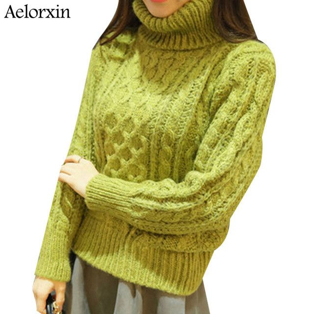 Aelorxin 2017 Women's Turtleneck Sweaters and Pullovers Winter Thick Super Warm Twist Turtleneck Women Sweater Sueter Mujer