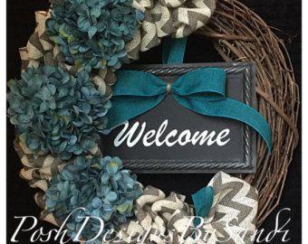 Grapevine and Chevron Burlap Wreath- Hydrangea Wreath-Welcome Wreath-Front Door Wreath-Spring Wreath- Summer Wreath Wedding Wreath