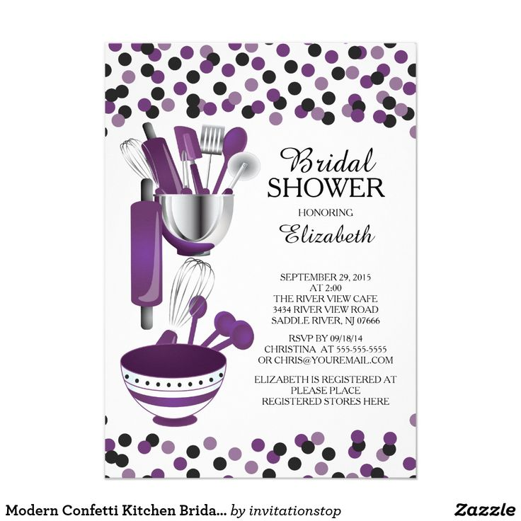 Modern Purple Confetti Kitchen Bridal Shower Invitations Modern stock the kitchen bridal shower invitation featuring a rolling pin, mixing bowl, spatula, pizza cutter, whisk, vegetable peeler and measuring spoons set on a contemporary white background with eggplant purple & black polka dot confetti. Visit our shop to view this invitation in a variety of popular wedding shower invitations.