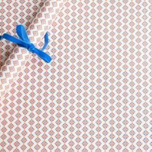papier cadeau orange fluo et turquoise