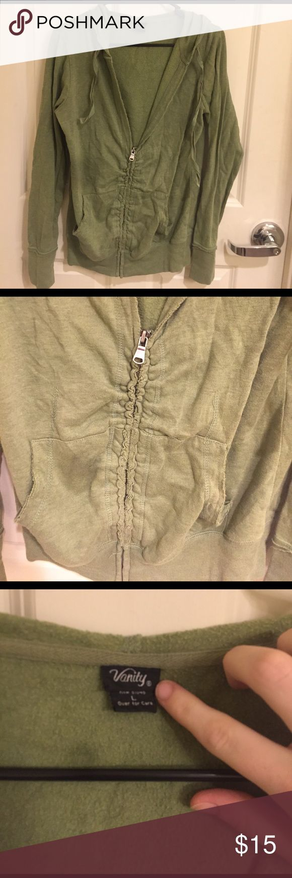 Green zip up jacket Green zip up jacket size L. Lightly used, the brand is Vanity, not Free People but this looks like a free people jacket I own so I put it here. Comfy and light, a great staple to any closet Free People Jackets & Coats