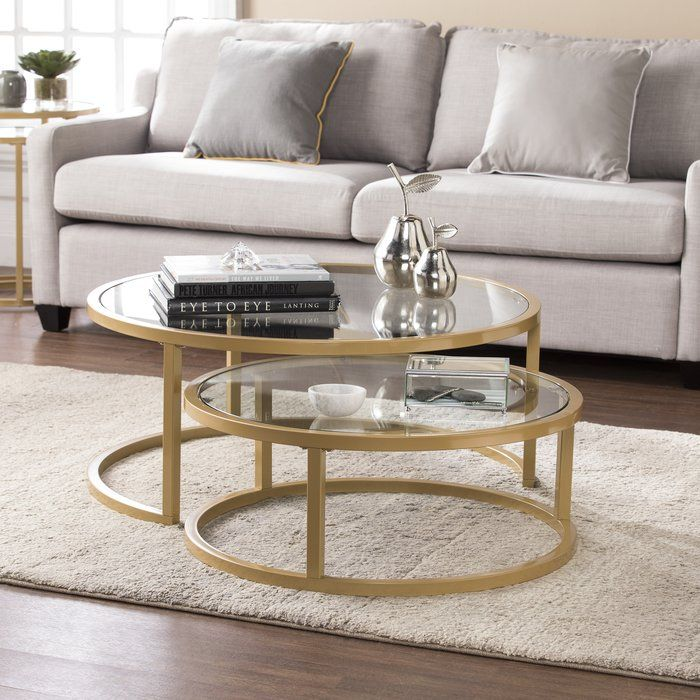 Evie 2 Piece Coffee Table Set With Images Circular Coffee