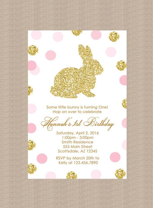 gold bunny rabbit birthday party invitation  polka dots