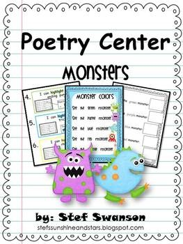 Poetry Centers {Adorable Monsters} 2 Original poems with student emergent readers included! Students will identify ending punctuation, rhyming words, and tricky sight words. (Preschool, Kindergarten, First Grade)