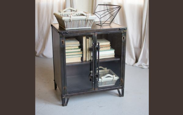 """James James: This rustic metal cabinet with two glass doors is beautiful as an end table, night stand, or extra storage in the living room or bedroom.Product Dimensions: 24"""" x 17"""" x 27"""" H"""