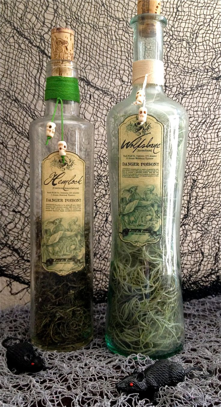 Halloween Magic Spells Potion/Poison Bottle - Mandrake Root & Wolfsbane. $25.00, via Etsy.